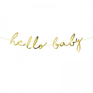 Baner na Baby Shower złoty Little Star - Hello Baby