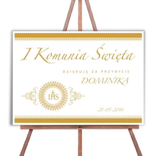 Plakat Komunijny 50x70cm Personalizowany Złota Hostia