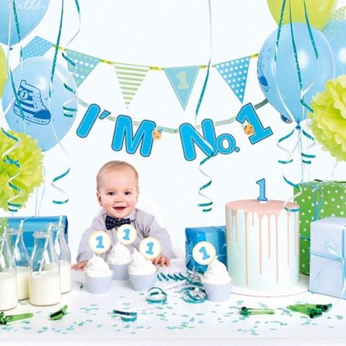 Zestaw Dekoracji Na 1 Urodziny Chłopca Buciki Niebieski Sakramentopl